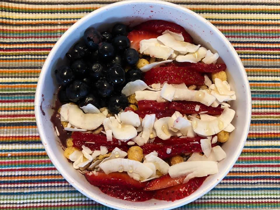 Photo of a bowl of food arranged in US flag colors