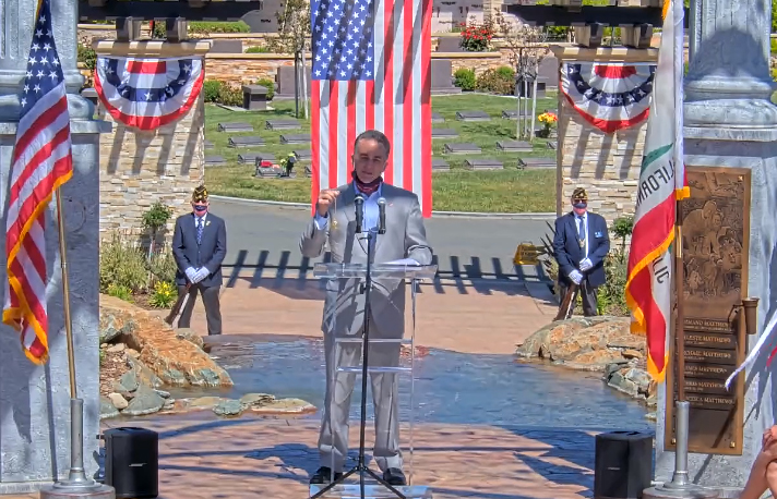 Mike Wasserman speaking at Memorial Day Event